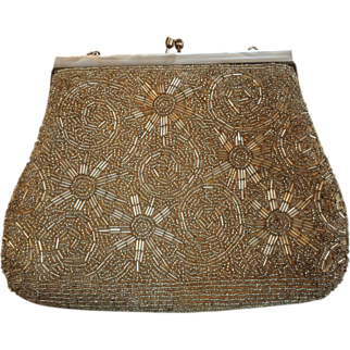 Vintage Gold Beaded Evening Bag with Mother of Pearl Frame and Snake Chain