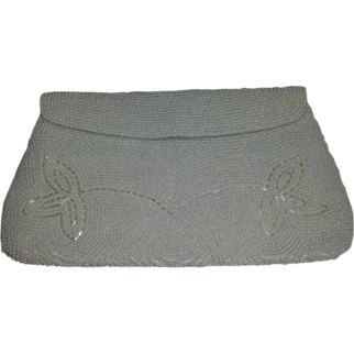 White Seed Pearls and Pearlized Bugle Beads Fold Over Flap Evening Bag
