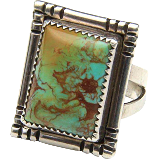 Vintage Navajo Green Square Turquoise & Sterling Silver Ring Signed AJB Sz 9.5