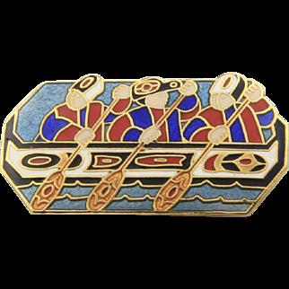 Barbara Lavealle Cloisonne Enamel NW Coast Native Alaska Rower Boat Pin Signed