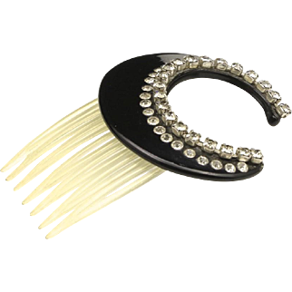 Vintage 1940s Lucite & Rhinestone Hair Comb Crescent Shape No Missing Stones