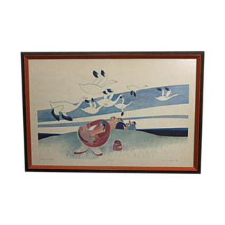 Vintage Rie Munoz Lithograph Berry Pickers Limited Edition Framed Alaska Art 70s