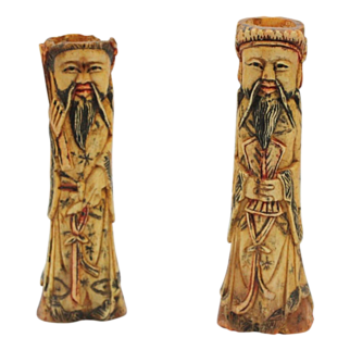 Pair Antique Hand Carved Bone Chinese Immortal Figures Beautifully Detailed