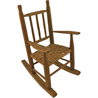 Vintage Wooden Doll's Rocking Chair
