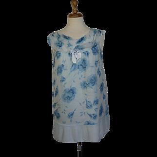 60s Powder Blue Flower Baby Doll Pajamas
