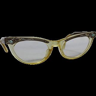 SALE 50s Engraved Plastic/Aluminum Cat Eye Glasses