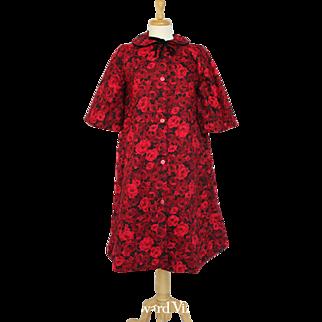 60s Scarlet Red Rose Motif Robe