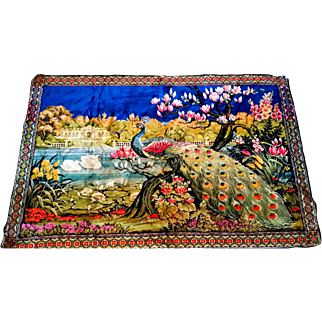 SALE Peacock Wall Hanging Rug Tapestry Swans
