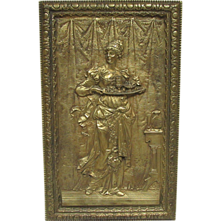 Antique Bradley & Hubbard cast iron lady with tray plaque 19th
