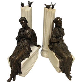 SALE Vintage pair of Classical bronze and marble sculptures with lady with rose birds