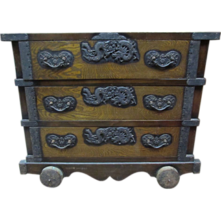 SALE Antique Japanese Wheeled Chest with Dragon Hardware Tansu Meiji period