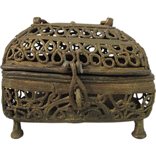 Antique Indian rope brass filigree hand made box
