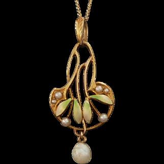Art Nouveau KREMENTZ 14k Gold, Enamel, & Pearl Lavalier Necklace