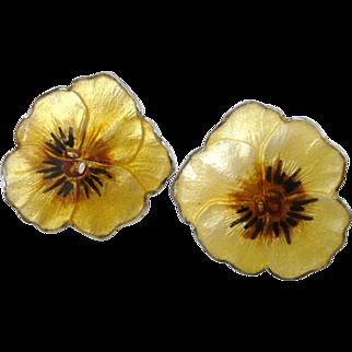 Antique Sterling Silver & Yellow Enamel Pansy Flower Screw-Back Earrings