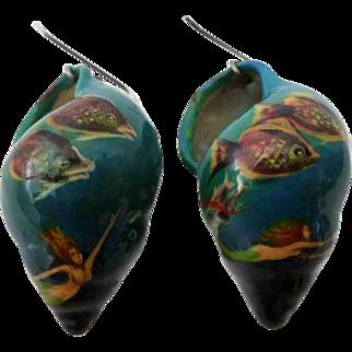 """Vintage """"Under the Sea"""" Hand-Painted Seashell Earrings w/ Mermaids"""