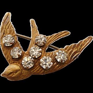 Victorian Gilt Brass & Brilliant Paste Swallow Brooch