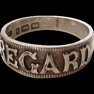 "Victorian 1891 Sterling Silver ""REGARD"" Ring"