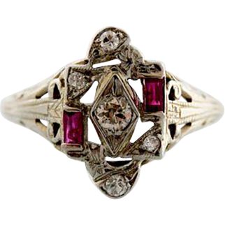 Art Deco Diamond and Ruby White Gold Ring