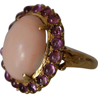 Vintage Angel Skin Coral And Natural Cabochon Tourmaline Ring with 14k Yellow Gold Filigree