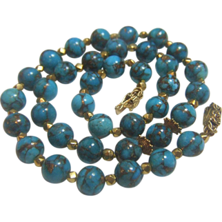 SALE Nacozari Turquoise 22 kt(916) & 18 kt (750) Clasp Necklace