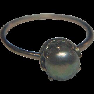Genuine Antique Natural South Sea (Pinctada maxima) Pearl 18 karat Gold Ring
