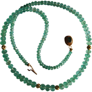 Emerald Necklace with 21 kt (916) & 17 kt (708)