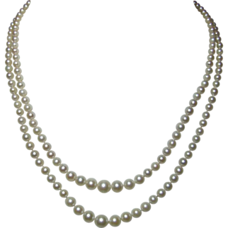 SALE Double Strand SW Cultured Pearl 9 kt Gold (375) Necklace