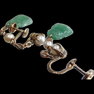 Vintage Green Jade &Natural, Wild Pearl 10kt (416) Earrings