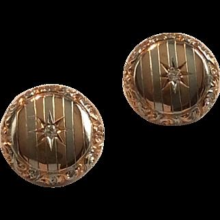 14k Rose & White Post Earrings