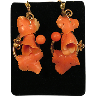 14K and Coral Art Nouveau Earrings