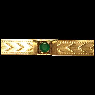14 K Yellow Gold & Emerald Bar Pin Engraved 1922
