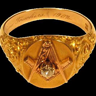 18K Yellow Gold Masonic Ring