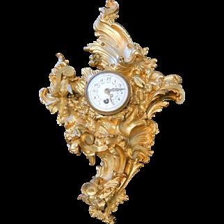 French Gilt Bronze Rococo Cartel Clock