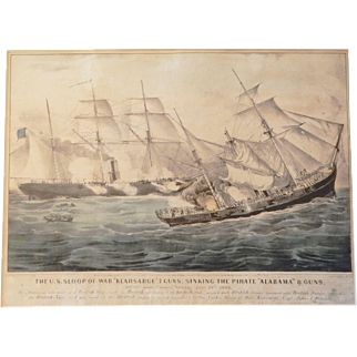 "Currier and Ives Print: THE U.S. SLOOP OF WAR ""KEARSARGE"" 7 GUNS, SINKING THE PIRATE ""ALABAMA"" 8 GUNS"