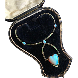 Romantic Opal and Demantoid Heart Lavalier Necklace