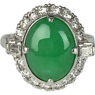 SALE Vintage Jade Platinum and Diamond Ring - Untreated Grade A Jadeite