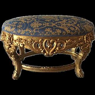 19th century Italian baroque stylish bed bench in blue