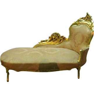 Sofa chaise lounge in gold color