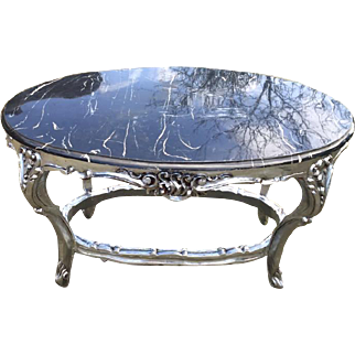 19th century Italian Baroque coffee table in silver wood and top marble