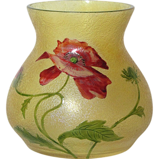 SALE French Cameo, Beautiful Floral Acid Etched Enameled Poppy Vase, Daum Galle Era