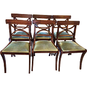 French Walnut Chairs with Green velvet seats, set of 6