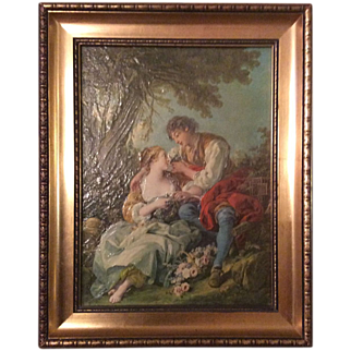 """Giclee"" rococo style painting of La cage d'oiseaux by French painter François Boucher"