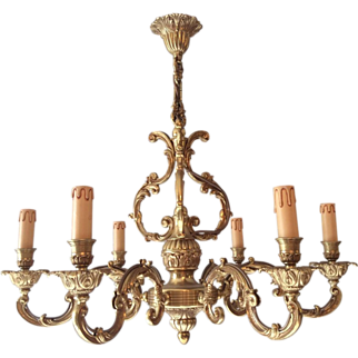 REDUCED French bronze chandelier with 6 arms in Louis XV style