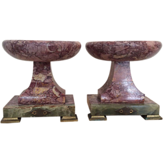 French marble garniture in rose colored marble and green onyx