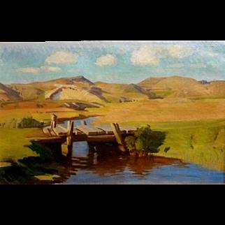 "The Bridge, 1942, Oil on Canvas, 22 x 37,"" plus frame"