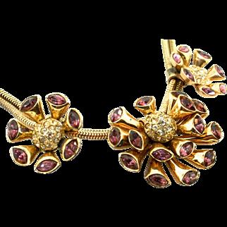 Early CORO Sterling Atomic Faux Amethyst Rhinestone Pendant Snake Chain Choker Necklace 52g