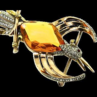 Vintage Philippe TRIFARI Sterling Rhinestone BIRD Phoenix Figural Brooch Pin