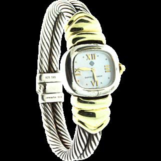 SALE David Yurman Classic Cable 925 Sterling Silver 585 14K Yellow Gold Womens WATCH