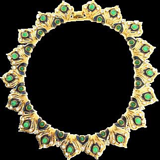 RARE Marcel BOUCHER Rhinestone Blue Enamel Cabochon Peacock Necklace Choker