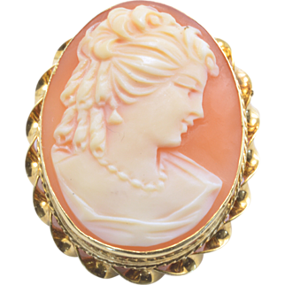 Vintage 14k Yellow Gold Cameo Pin/Pendant
